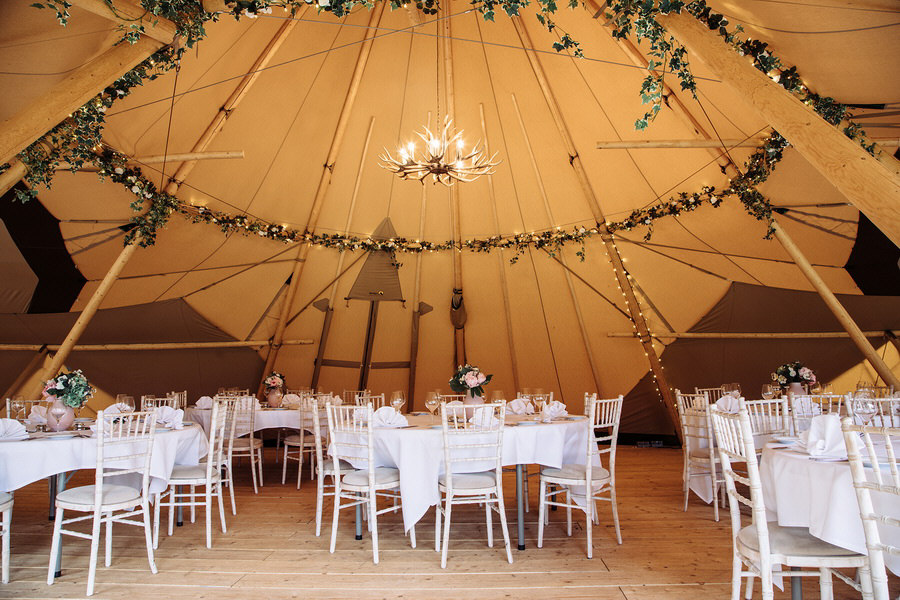 Tipis at The Durham Ox Wedding seating round tables
