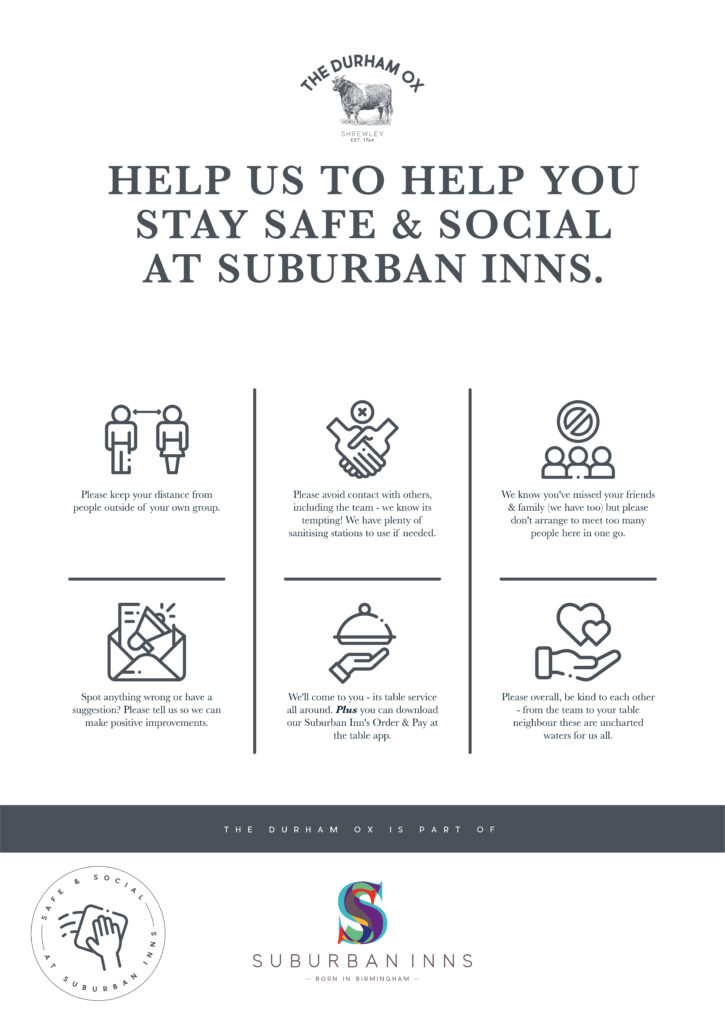 Suburban Inns & the durham ox safe & social visual